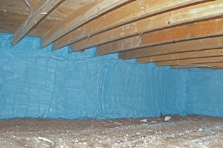 During a home cottage or commercial inspection in the Orillia, Gravenhurst,Bracebridge and Muskoka area we often find improperly installed vapour barrier Her we see a crawlspace that has been fully spray foamed a bit larger job but fully doable for the DIYer.m joist space in a home cottage or commercial building.