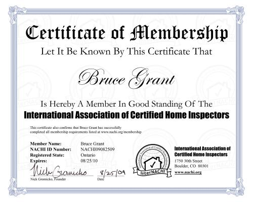 Certificate of membership  in the International Association of Home Inspectors, carries Official seal and home inspector logo. Home cottage and commercial inspection done to InterNACHI higest standarda in Orillia Gravenhurst and Muskoka.