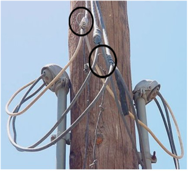 This photo shows a hydro pole in a single family home area. On it we see two mast heads for service where there should only be one. Performing the best in home, cottage, and commercial, inspections in the Orillia, Gravenhurst, Bracebridge, and throughout Muskoka area means looking for small clues like this may be the only evidence left after the growers have pulled out.